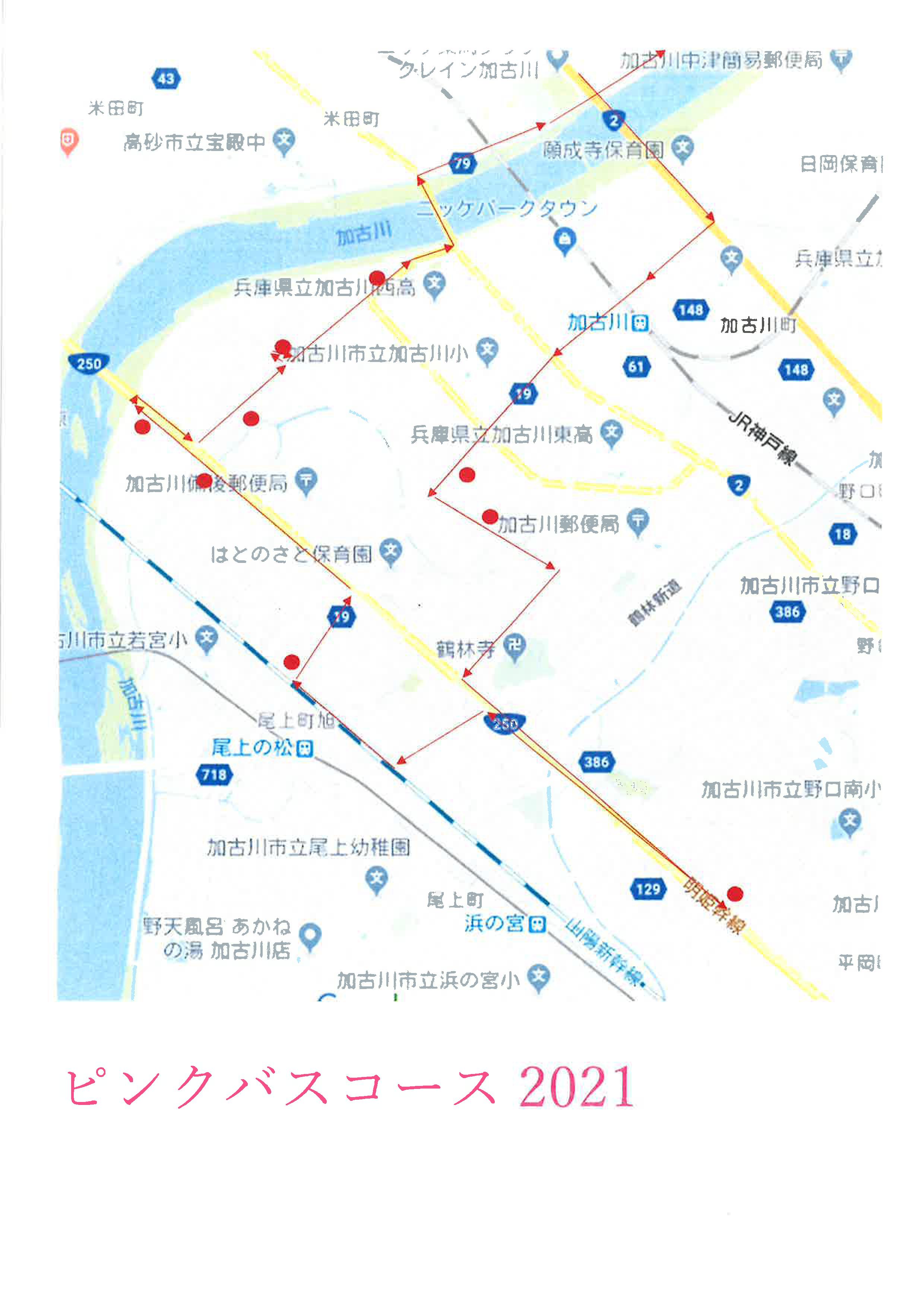 ピンクバス路線図